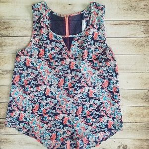 Women's floral zipper back top size M
